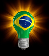 Light bulb with Brazilian flag (clipping path included)