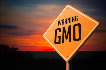 GMO on Warning Road Sign.