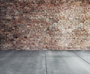 Empty Brick Wall with Concrete Floor Concept