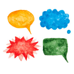Set of vector watercolor speech bubbles.