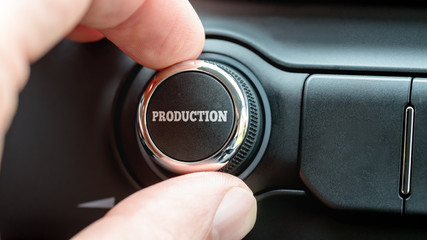 Man turning a dial or electronic control knob with the word Prod