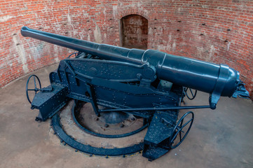 Disappearing gun at chulachomklao fort ,Thailand