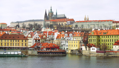 Prague castle and old town in Prague, Czech Republic