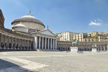 Garden Poster Napels A beautiful view of Piazza del Plebiscito in Naples