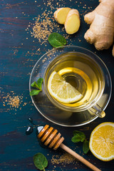 Cup of Ginger tea with lemon and honey