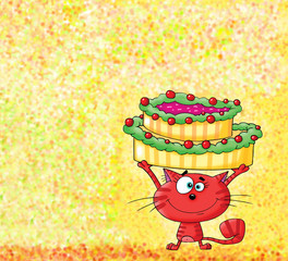 Red Kitten Holding a Cake