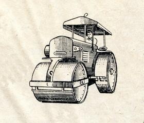 Three wheel road roller