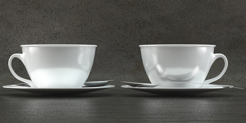 Cup mockups on concrete background