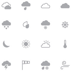 Set of minimalistic weather icons for web and mobile application
