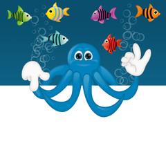 Funny octopus cartoon illustration under water fish fishes squid