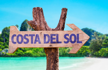 Costa Del Sol wooden sign with beach background