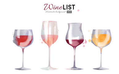 Watercolor vector wine background set