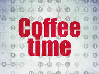Time concept: Coffee Time on digital background