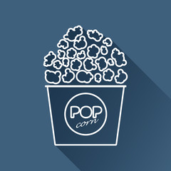 Vector flat popcorn icon isolated outline. Eps10