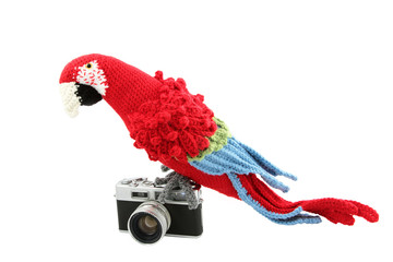 Crocheted Parrot On Vintage Camera