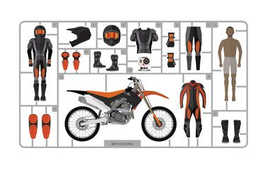 Motocross bike  isolated on white. Vector illustration
