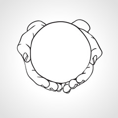 Closeup of cupped hands holding a round object. Hand drawn