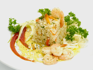 Fried rice with shrimp and parsley leaves.