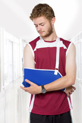 sport man with arm in a sling