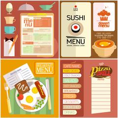 Flat design restaurant menu, web elements, icons.