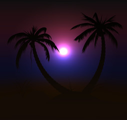 Beautiful sunset vector design