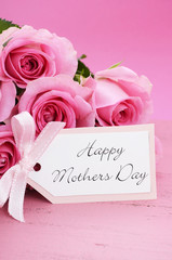 Happy Mothers Day Pink Roses background.