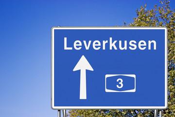 Wegweiser A3, Richtung Leverkusen