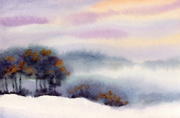 Watercolor winter landscape. Evening sky over valley