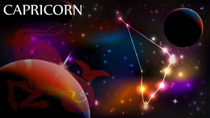 Capricorn - Astrological Sign and copy space