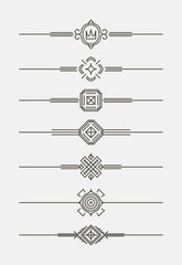 Set of 7 decorative text dividers in mono line style.