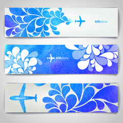 Set of watercolor Airplane artistic banners