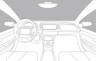 generic car cockipt, line drawing illustration