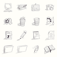 Sketch style desktop icons set