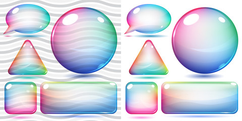 Transparent and opaque multicolor glass shapes