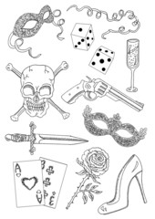 Graphic set with gangster romantic objects