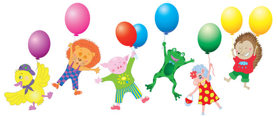 Funny animals on balloons with gradient isolated on white