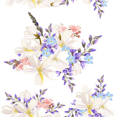 Beautiful floral pattern with field flowers