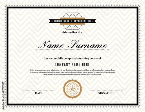 """Retro Frame Certificate Of Appreciation Template"""" Stock Image And"""