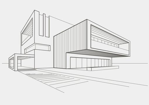 linear sketch modern building on light gray background