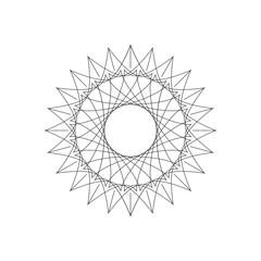 Geometric decoration sun flower shape, ornament line design