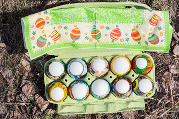 Easter eggs in the woods