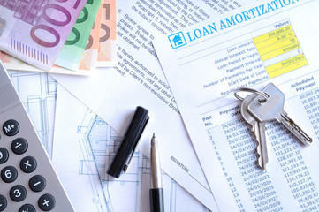 Calculation of mortgage loan top view