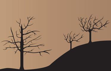 Sad dark dead trees background