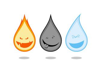 Funny drops symbols - fire, oil, water.