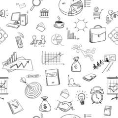 hand draw doodle business finanse elements pattern
