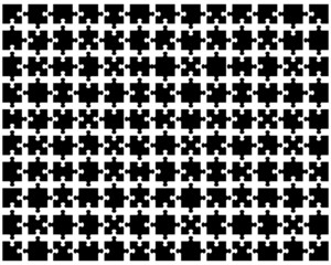 Vector illustration of black puzzle, separate pieces