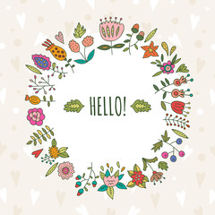 Cute floral wreath made in vector