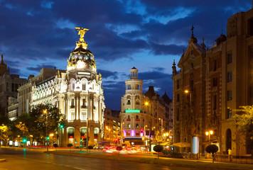 Keuken foto achterwand Madrid Crossing Calle de Alcala and Gran Via in night. Madrid