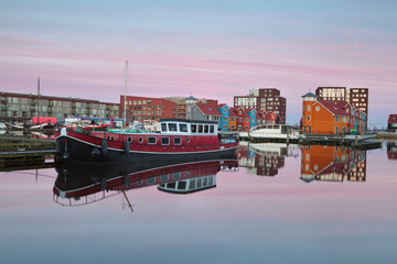 Wall Mural - ship on Reitdiephaven harbor at sunrise