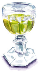Watercolour drawing of retro goblet with golden white wine